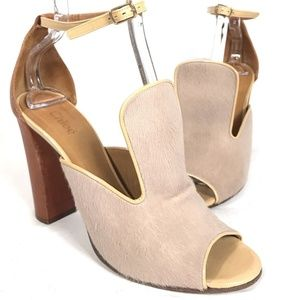 Chloé Nude Pony Hair and Brown Leather Ankle Strap